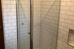 Chrome semi frameless with subway tiles